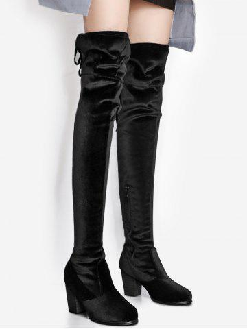 Pointe Toe Block Heel Over The Knee Boots