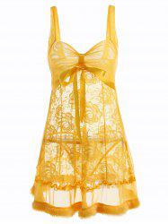Lace Babydoll with Faux Fur Trim - YELLOW ONE SIZE