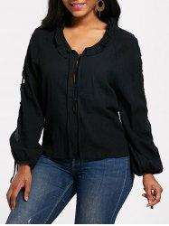 Lace Up Long Sleeve Half Button Blouse -