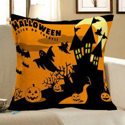 Halloween Bats Castle Pumpkins Patterned Pillow Case -