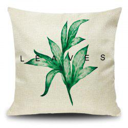 Leaf Print Decorative Linen Pillow Case - GRASS GREEN 45*45CM