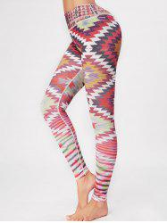 Geometric Skinny High Waisted Gym Leggings - COLORFUL S