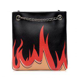 Flame Pattern PU Leather Chain Shoulder Bag -