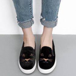 Embroidery Velvet Slip On Sneakers -