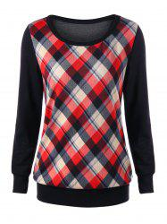 Plaid Elbow Patch Sweatshirt -