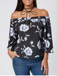 Off The Shoulder Floral Print Blouse -