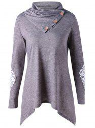 Long Sleeve Applique Asymmetrical Top -