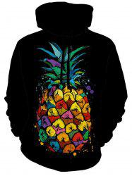 Hoodie d'impression d'ananas aux fruits tropicaux - Noir 3XL