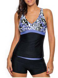 Cross Back Printed Tankini Set - BLUE XL