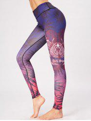 Feuilles imprimées Skinny High Rise Gym Leggings - Pourpre L