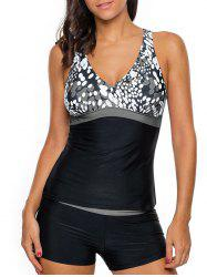 Cross Back Printed Tankini Set - GRAY M