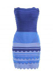 Night Out Ombre Color Tube Bandage Dress - Bleu S