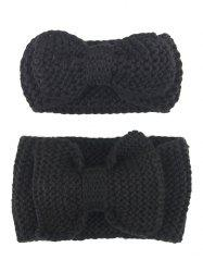 Crochet Bows Elastic Mom and Kid Hair Band Set - BLACK