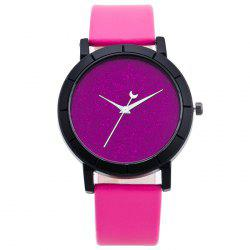 Minimalist Glitter Powder Face Faux Leather Watch -