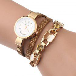 Rhinestone Layered Wrap Bracelet Watch -