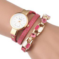 Rhinestone Layered Wrap Bracelet Watch - TUTTI FRUTTI