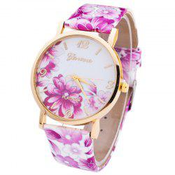 Flowers Print Faux Leather Strap Number Watch - PURPLE