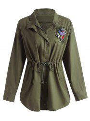 Plus Size Drawstring Floral Embroidered Filed Jacket - ARMY GREEN 3XL