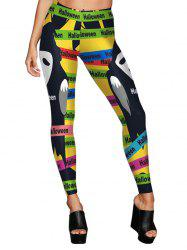 Halloween Color Block Ghost Leggings - COLORMIX S
