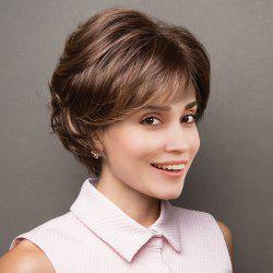 Short Side Bang Layered Shaggy Lightly Curled Colormix Perruque synthétique -