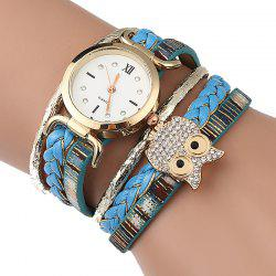 Owl Embellished Braided Bracelet Watch -