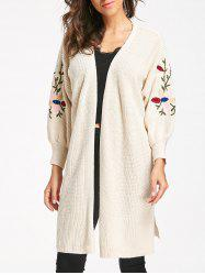 Cable Knit Embroidered Long Cardigan -
