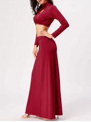 High Waisted Cut Out Two Piece Party Dress - RED 2XL