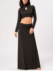 High Waisted Cut Out Two Piece Party Dress - BLACK 2XL