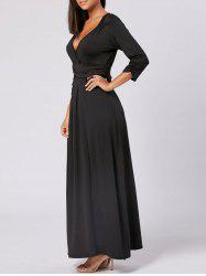 Empire Waist V Neck Long Maxi Dress - BLACK 2XL
