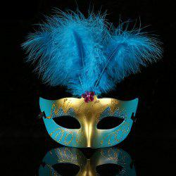 Halloween Party Cosplay Faux Feather Floral Mask - Bleu