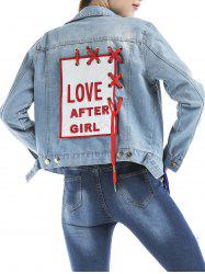 Embroidered Eyelet Lace Up Graphic Denim Jacket -