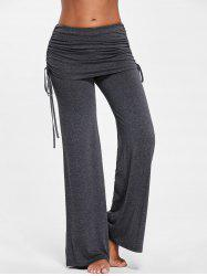 Ruched Skirted Palazzo Pants - DEEP GRAY L
