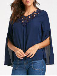 Flared Split Sleeve Lace Panel Blouse - PURPLISH BLUE M