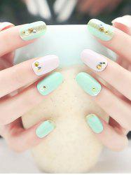 20Pcs Faux Pearl Embellished Nail Art Fake Nails -
