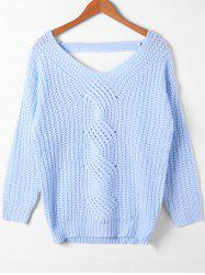 Cut Out Cable Knit V Neck Sweater -