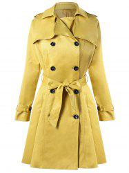 Double Breasted Tie Belt Trench Coat -