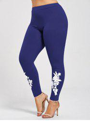 Leggings Moulants à Applique en Jersey Grande Taille -