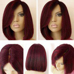 Short Side Part Dark Root Colormix Straight Bob Synthetic Wig -