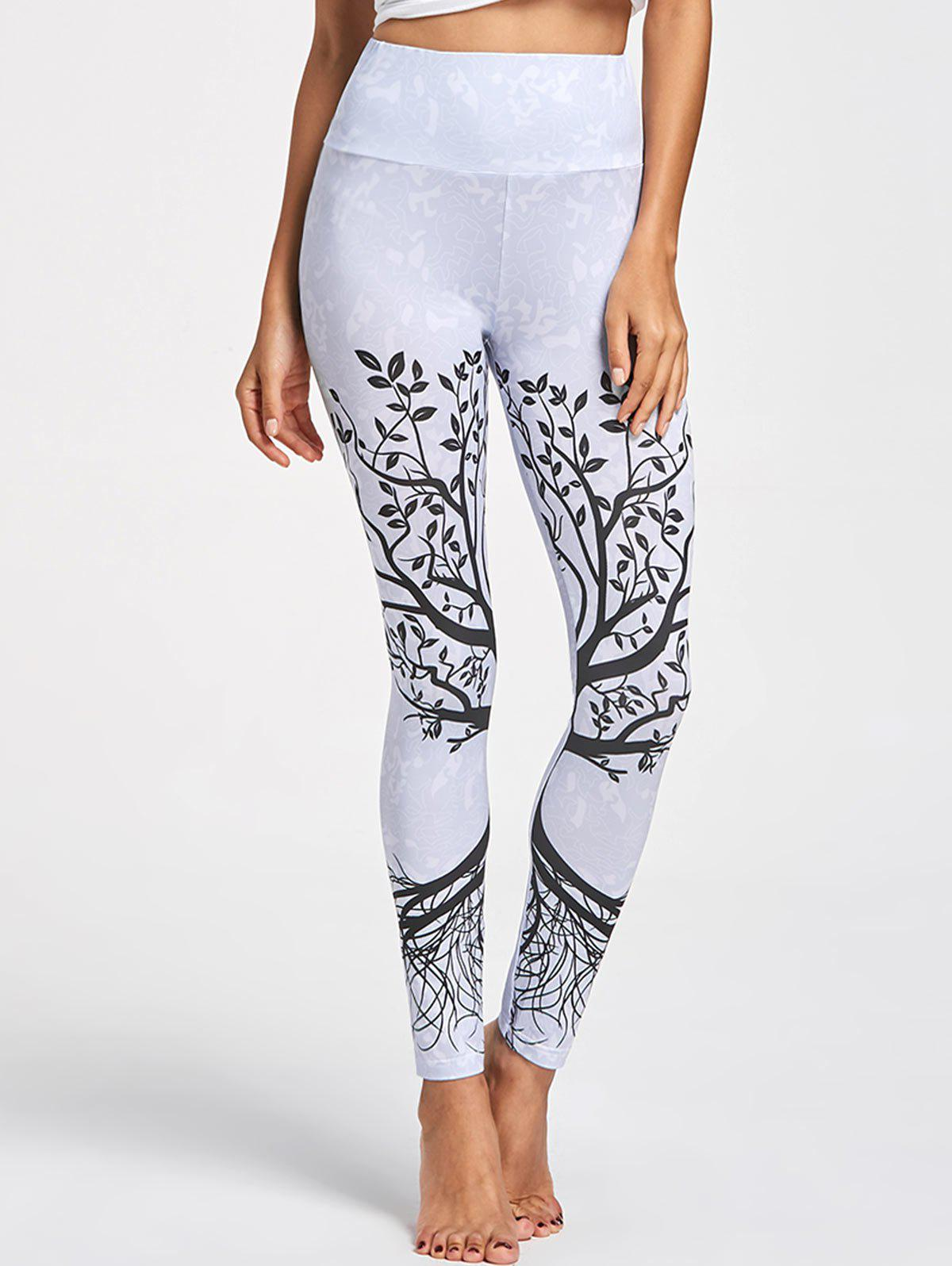 Online Tree Pattern High Waist Leggings