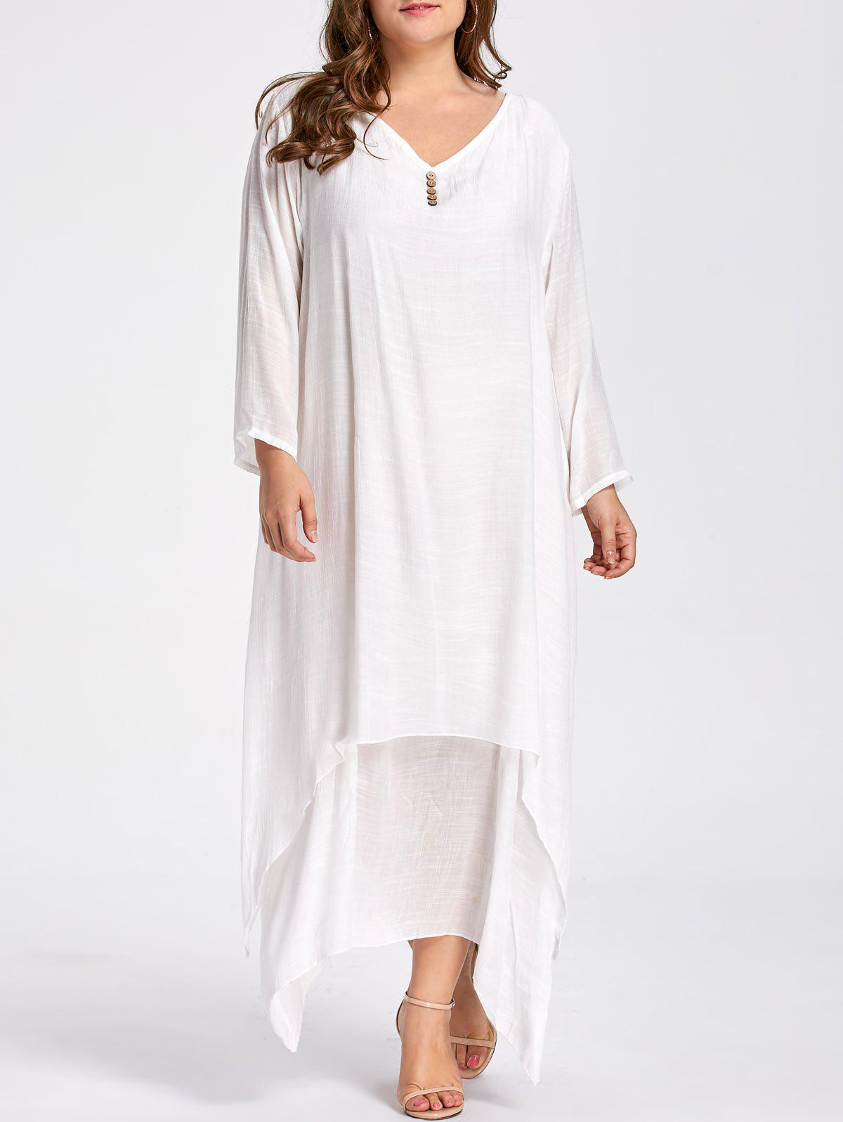 Plus Size Button Embellished Maxi Layered DressWOMEN<br><br>Size: 5XL; Color: WHITE; Style: Casual; Material: Cotton Blend,Linen,Polyester; Silhouette: Asymmetrical; Dresses Length: Ankle-Length; Neckline: V-Neck; Sleeve Length: Long Sleeves; Embellishment: Button,Ruffles; Pattern Type: Solid Color; With Belt: No; Season: Fall,Spring,Winter; Weight: 0.3800kg; Package Contents: 1 x Dress;