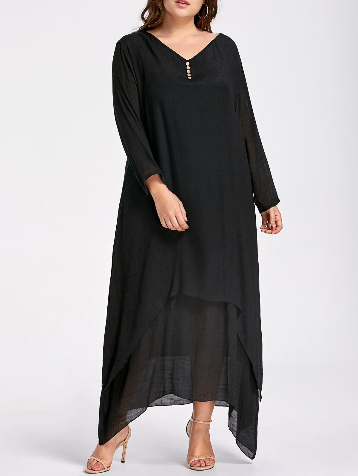 Plus Size Button Embellished Maxi Layered DressWOMEN<br><br>Size: 2XL; Color: BLACK; Style: Casual; Material: Cotton Blend,Linen,Polyester; Silhouette: Asymmetrical; Dresses Length: Ankle-Length; Neckline: V-Neck; Sleeve Length: Long Sleeves; Embellishment: Button,Ruffles; Pattern Type: Solid Color; With Belt: No; Season: Fall,Spring,Winter; Weight: 0.3800kg; Package Contents: 1 x Dress;