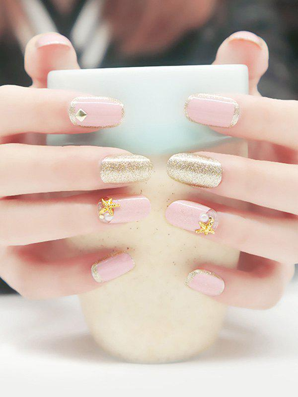 20PCS Starfish Glitter Powder Nail Art Fake NailsBEAUTY<br><br>Color: GOLD AND PINK; For: Finger; Weight: 0.0960kg; Package Content: 20 x Fake Nails(Pieces);