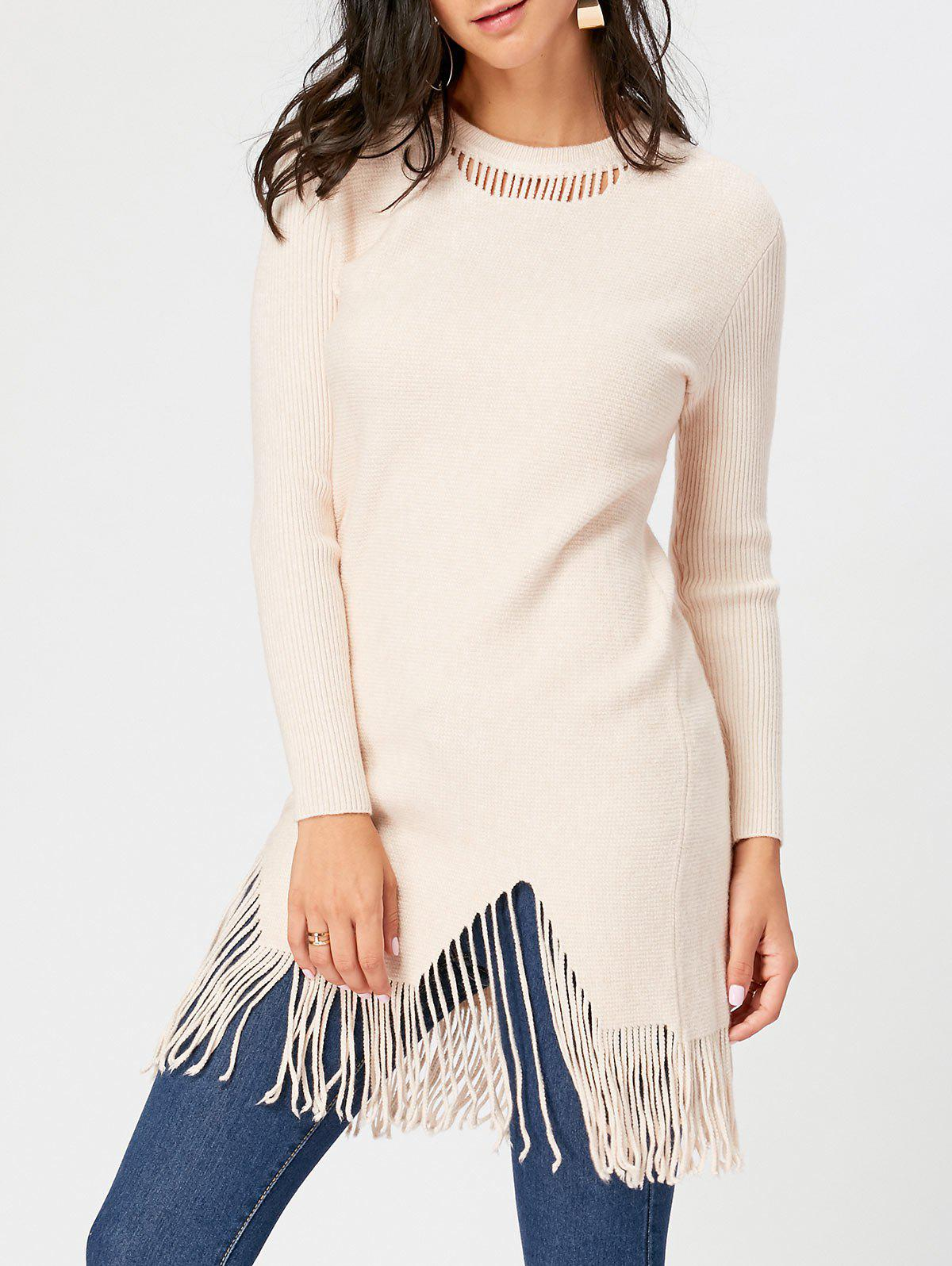 Trendy Fringed Ribbed Cut Out Sweater