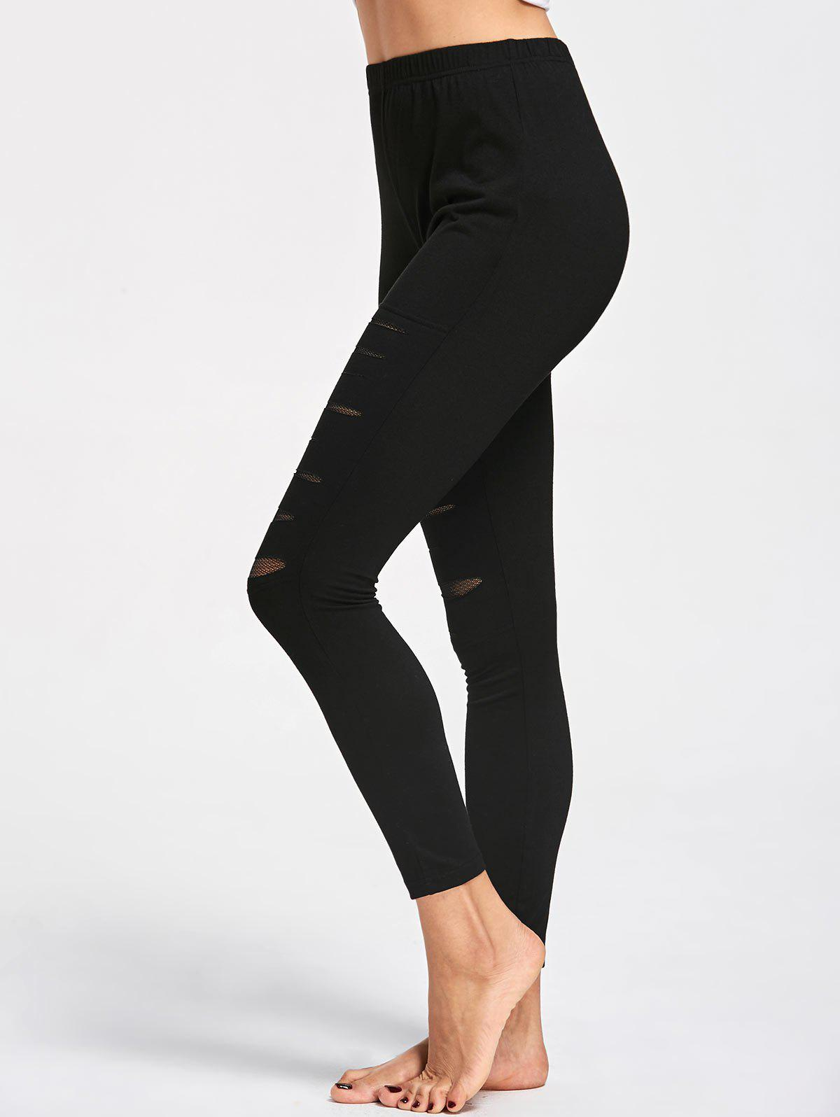 Ripped High Waist LeggingsWOMEN<br><br>Size: 2XL; Color: BLACK; Style: Casual; Material: Polyester,Spandex; Waist Type: High; Pattern Type: Solid; Weight: 0.2300kg; Package Contents: 1 x Leggings;
