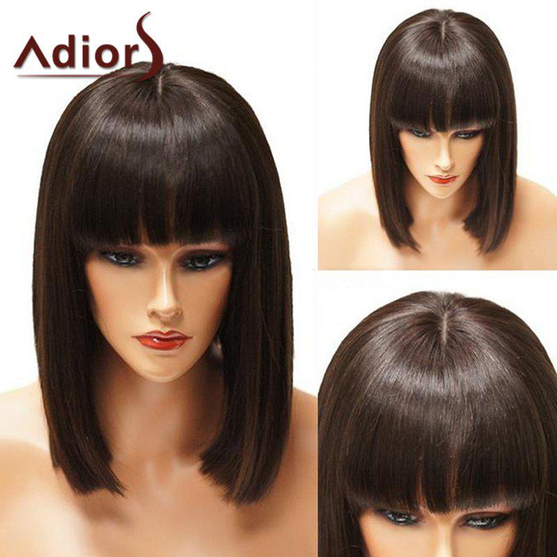 Adiors Short Neat Bang Straight Blunt Bob Synthetic WigHAIR<br><br>Color: BROWN; Type: Full Wigs; Cap Construction: Capless; Style: Straight; Material: Synthetic Hair; Bang Type: Full; Length: Short; Length Size(CM): 34; Weight: 0.1680kg; Package Contents: 1 x Wig;