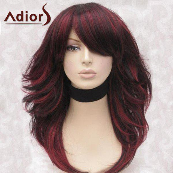 Adiors Long Side Bang Highlight Fluffy Straight Synthetic WigHAIR<br><br>Color: BLACK AND RED; Type: Full Wigs; Cap Construction: Capless; Style: Straight; Material: Synthetic Hair; Bang Type: Side; Length: Long; Length Size(CM): 55; Weight: 0.2400kg; Package Contents: 1 x Wig;
