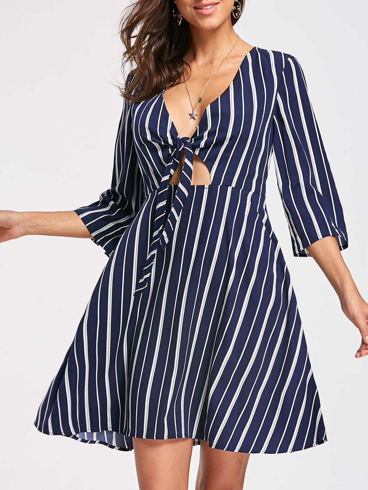 Online Plunging Neck Striped Skater Dress