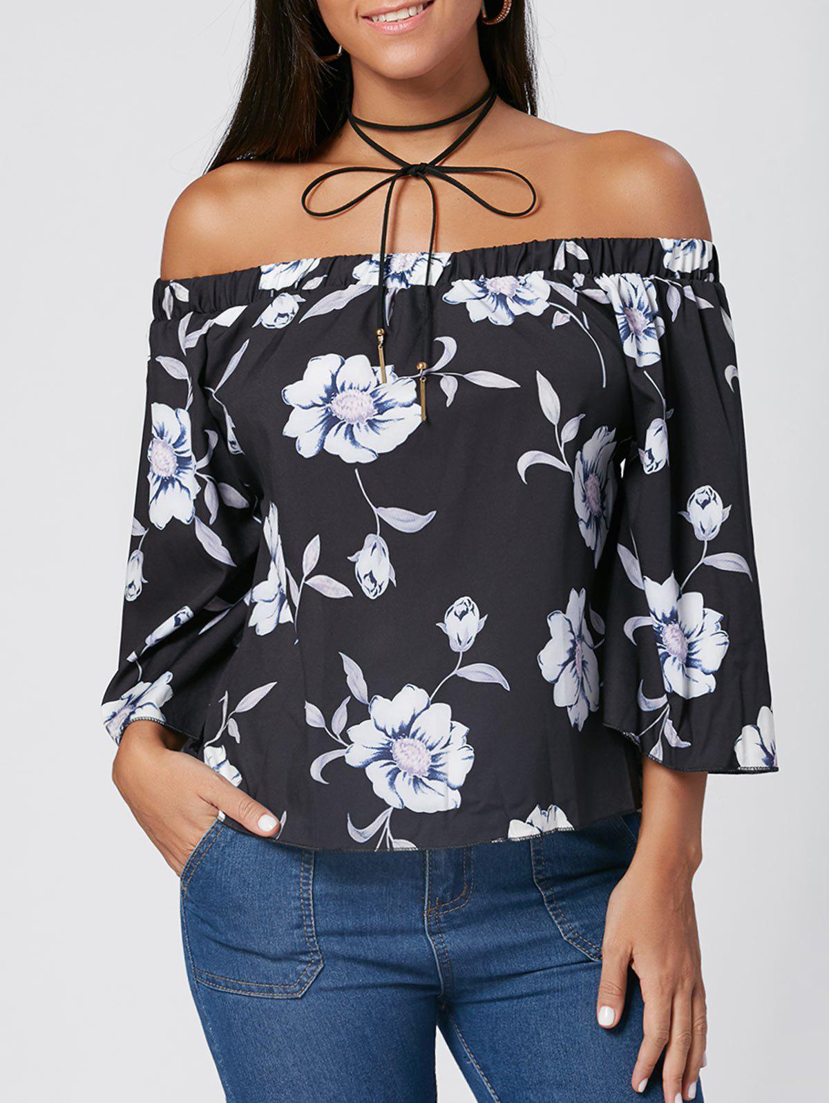 Cheap Off The Shoulder Floral Print Blouse
