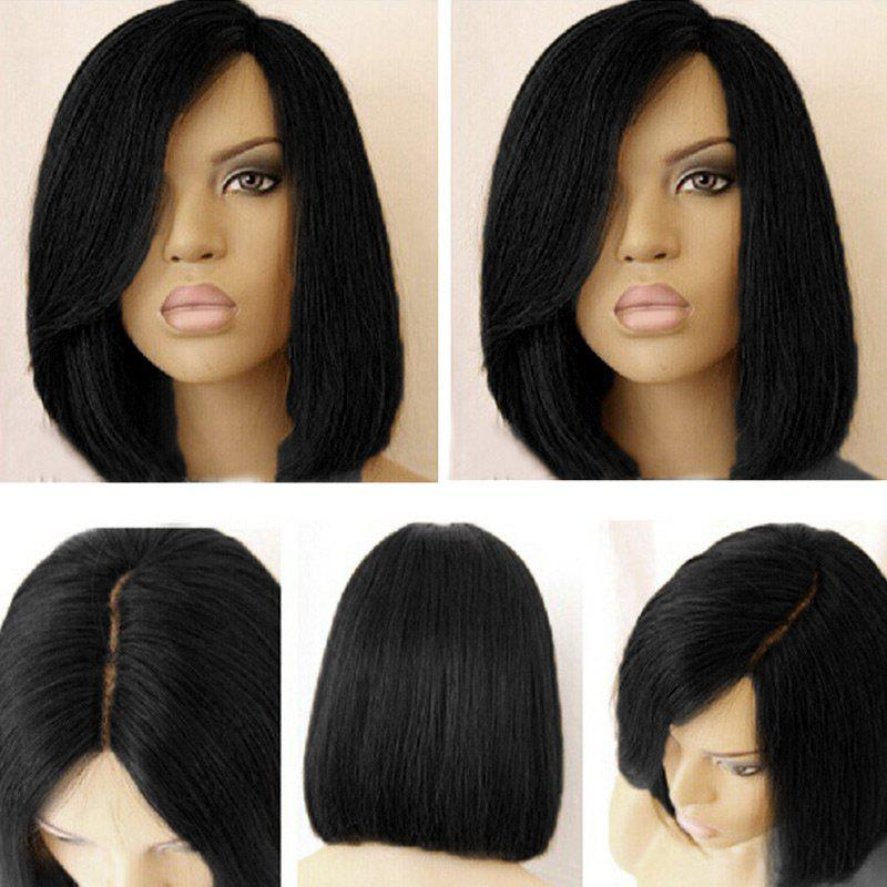 Black bob wig with bangs are