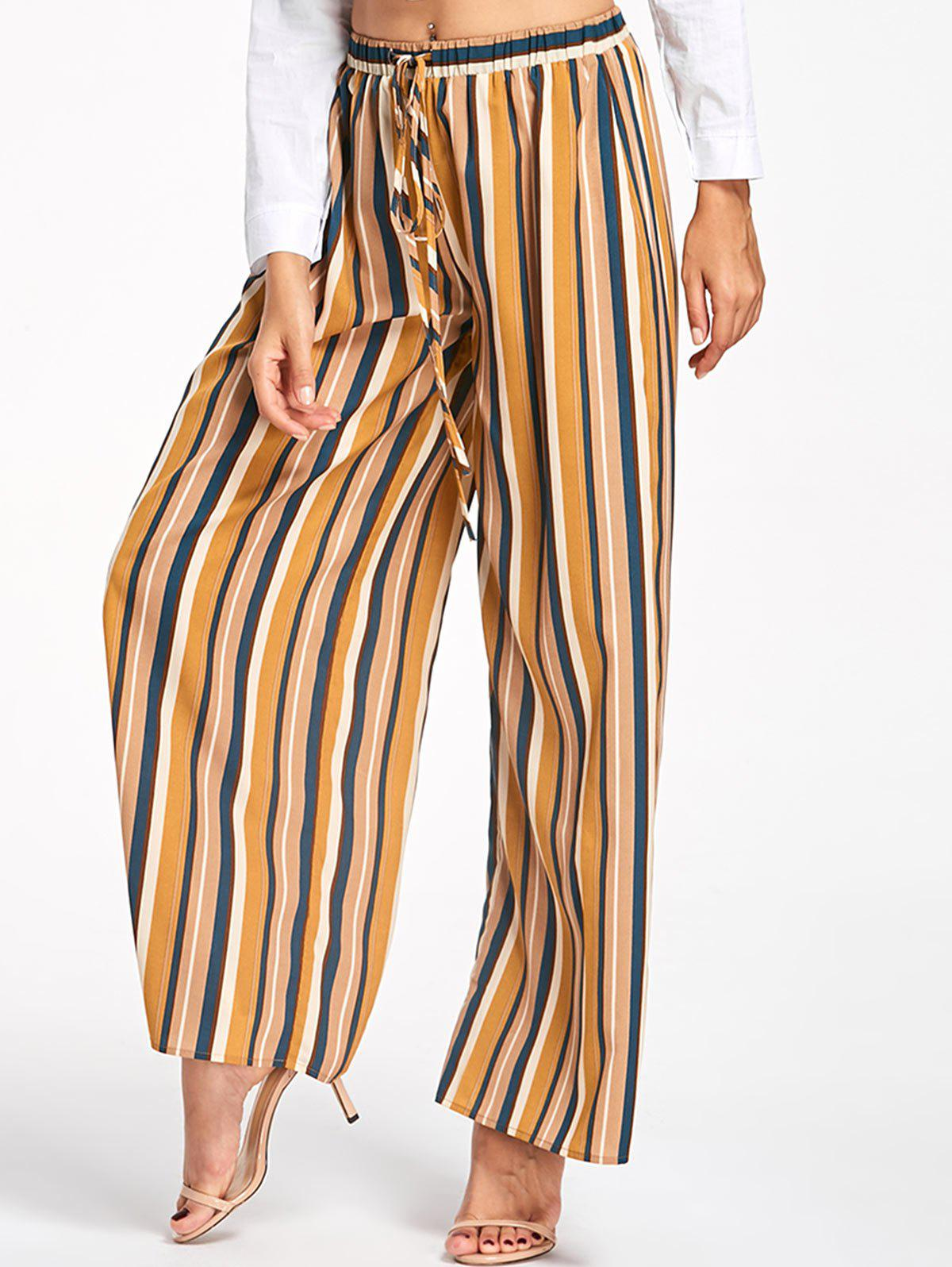 Discount Drawstring Vertical Stripe Palazzo Pants